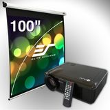 Elite Screens V20-M100V Manual Projection Screen and V20 Projector Bundle