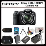 Sony DSC-HX200V Digital Camera Includes: Sony DSCHX200V, Extended Life Replacement Battery, Rapid Travle Charger, 32GB Memory Card, Memory Card Reader, Hard Case, Large Carrying Case, LCD Screen Protectors, Cleaning Kit, Table Top Tripod, G