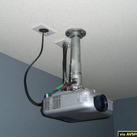 My ceiling mounted NEC LT240K Projector with an NEC LT60CM threaded pipe mount