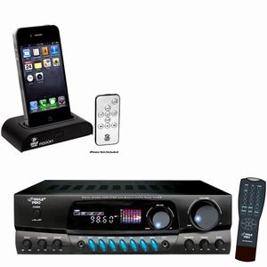 Pyle Stereo Receiver and iPod Dock Package - PT260A 200 Watts Digital AM/FM Stereo Receiver - PIDOCK1 Universal iPod/iPhone Docking Station For Audio Output Charging - Sync W/iTunes And Remote control