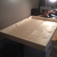 "Cheap movie poster box. 1X3 lumber 40"" x 25"" 1/2.  3/8 plywood 27"" x 40"""