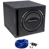 "Package: Pioneer Champion TS-W309D4 12"" 1400 Watt Peak / 400 Watt RMS Dual 4 Ohm Car Subwoofer + Atrend Single 12"" Mdf Vented Subwoofer Enclosure + Single Enclosure Wire Kit With 14 Gauge Speaker Wire + Screws + Spade Terminals"