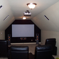 "This is a front view of the theater room.  The front stage consists of a set of Klipsch RF-35's, and RC-35.  The screen is an Elite 100"" fixed frame with the image provided by a Panasonic PT-AE900U."