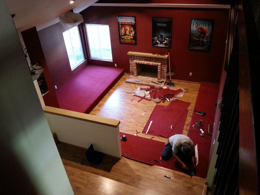 "Carpet being installed.  It's called ""Fireball""."