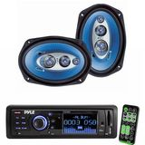 Pyle Radio Player and Speaker Package for Home, Studio, Car, Van, Truck, Mobile etc. - PLR33MPD AM/FM Band Radio USB/SD Receiver w/ Detachable Face - PL6984BL 6''x 9'' 400 Watt Four-Way Speakers (Pair)