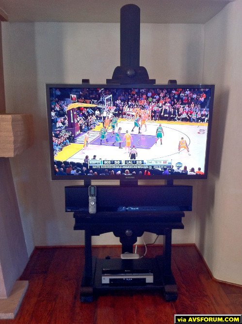 "Samsung 55"" LED HDTV (UN55C8900) mounted to an Easel.  Yamaha Sound Projector (YSP4100) mounted below with a programmed Universal Remote MX-900 Genesis. 