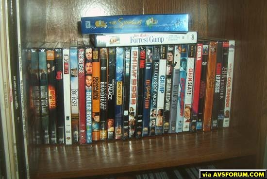 A close up of some of the unwatched films.