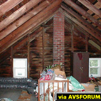 This is a pre construction photo of the attic facing the back wall