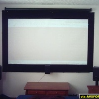 "a quartet matte white 84"" wide screen. originally 4:3 pul down that i masked and made a permanent 16:9."