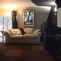 The TLH Theater circa 2005....old panoramic shot of my living room/theater.   Completely light controlled for daytime viewing on my current JVC RS20 projector....