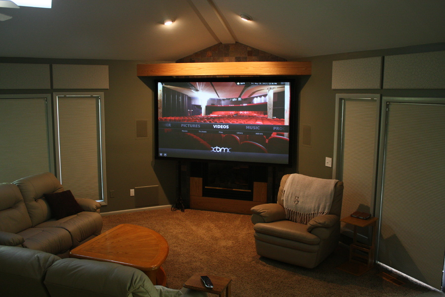 Great Room area with the 7 foot drop down screen.
