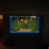 "New Optoma HD70 projector testing. On white satin painted wall. 98"" screen size at 145"" , middle zoom level. 1280x720 HTPC as the test source for now.