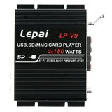 LP-V9 2*180W USB/SD/MMC/MP3/WMA/FM Remote Control Motorcycle Car Power Amplifier Black