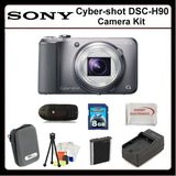 Sony CyberShot DSC-H90 Digitsl Camera Kit Includes: Sony Cyber-shot DSCH90 (Silver), Extended Life Replacement Battery, Rapid Travel Charger, 8GB Memory Card, Memory Card Reader, Hard Case, LCD Screen Protectors, Cleaning Kit, Table Top Tri