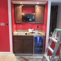 Bar alcove with microwave / fridge with blue led light