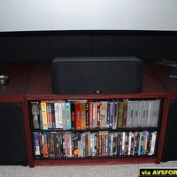 Shows custom made cabinet for DVD storage, Paradigm Studio Center. Also shows sony PS2 Sharkboard and Gyration wireless Keyboard for HTPC