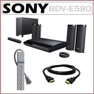 Sony BDV-E580 Blu-Ray Disc Player Home Entertainment System + HDMI Cable + Surge Protector Strip