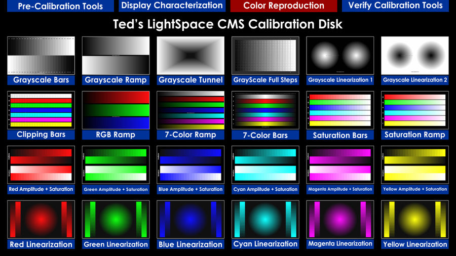 Ted's LightSpace CMS Calibration Disk - Color Reproduction Menu