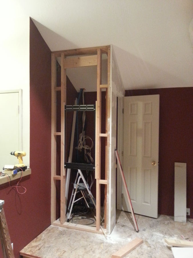 Framing up the 3ft x 3ft equipment closet.