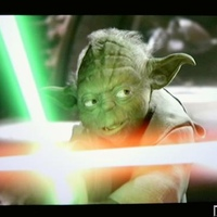 Yoda parries a Light saber on Light Fusion.