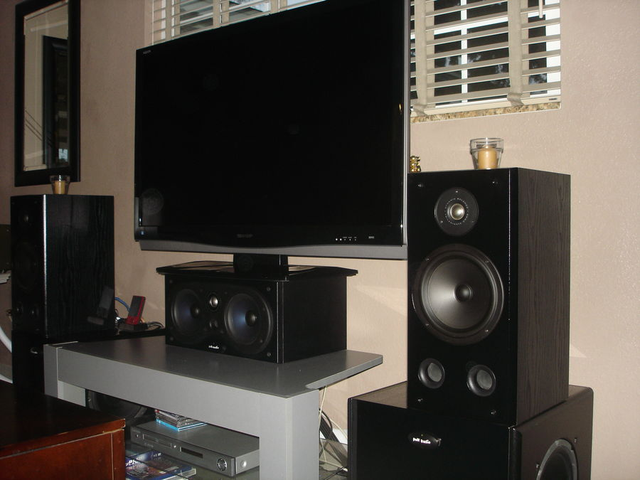 newer picture;  RT-7 Polk's for mains on top of stereo paired Polk 650 Polk subs