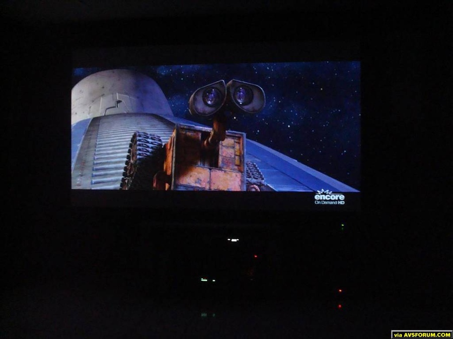 "Wall-E running off the Panasonic AE3000U onto my 100"" screen"