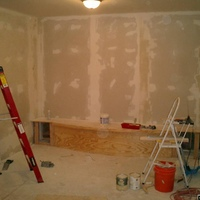 Drywall of front wall added for home theater close-in