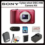 Sony CyberShot DSC-H90 Digitsl Camera Kit Includes: Sony Cyber-shot DSCH90 (Red), Extended Life Replacement Battery, Rapid Travel Charger, 8GB Memory Card, Memory Card Reader, Hard Case, LCD Screen Protectors, Cleaning Kit, Table Top Tripod