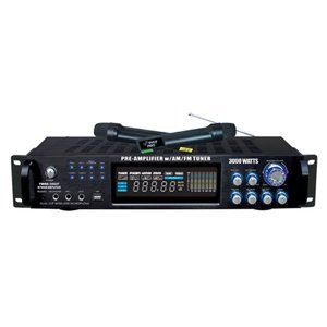 Pyle PWMA3003T 3000W Hybrid Pre Amplifier with AM/FM Tuner/USB/Dual Wireless Mic