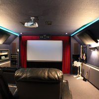 From the rear of the theater with the LEDs turned on.