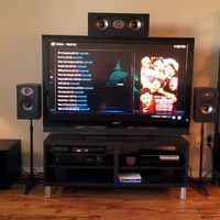 "AV Receiver: Yamaha RX-V475,  Polk TSX 110B bookshelf speakers, Polk TSX 150C center speaker, Polk PSW108 subwoofer, 52"" Sony LCD TV, Playstation 3, Asus OPlay media player, Ouya Gaming/XBMC console"
