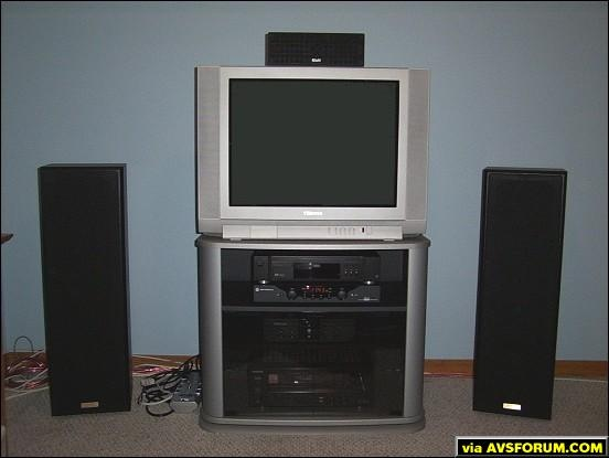 My Home Theatre setup. I use it to watch movies, play videogames and digital cable. This is a bedroom setup.