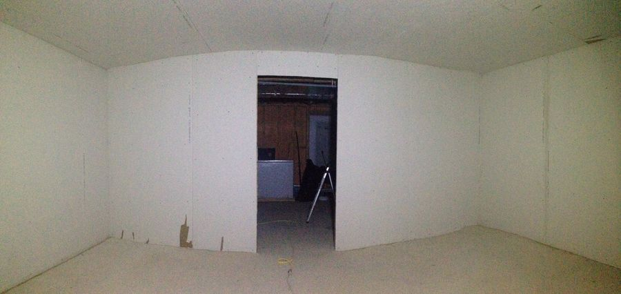walls up and acoustically caulked