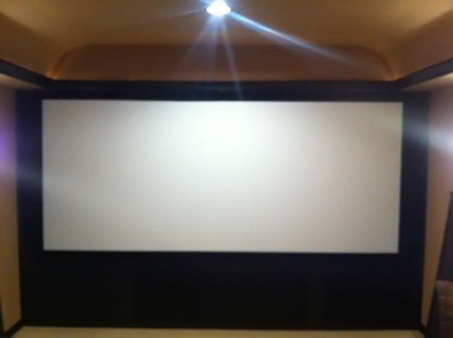 Cinemascope Screen with Black Velvet Trim - sorry about the focus.  iPhone had a hard time focusing on a white screen.