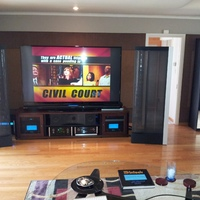 My 2 channel &amp; 5.1 channel home theater.  This theater consists of all McIntosh equipment.  Two MC601 Monoblock Amps.  One MC303 Amp.  MVP881 Blu Ray Player.  MCD500 SACD Player.  MX150 Processor.  McIntosh Clock.  Martin Logan CLX Anniversary Edition one of a kind to match the McIntosh equipment.  Stage center and Motif surrounds.  One JL113 subwoofer.  Mitsubishi 82 inch TV,  and a lot of other equipment