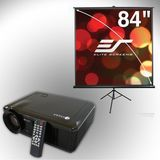 Elite Screens V20-T84V Tripod Projection Screen and V20 Projector Bundle