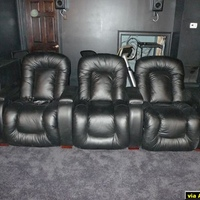 My theater seating: Palliser Rhumbas in black leather.