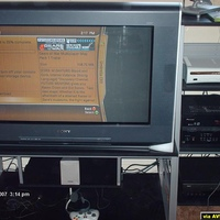"In this picture you see my Sony KD-34XBR970 34"" HDTV, Pioneer 7.1 receiver w/ very cheep HTIB surround sound speakers (to be replaced next year at tax time), RCA 4 head VCR, and my Xbox 360 (recently replaced w/ an Elite after going up in..."