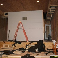 The sheetrock is up on the rear wall now.  You can see the projection port.