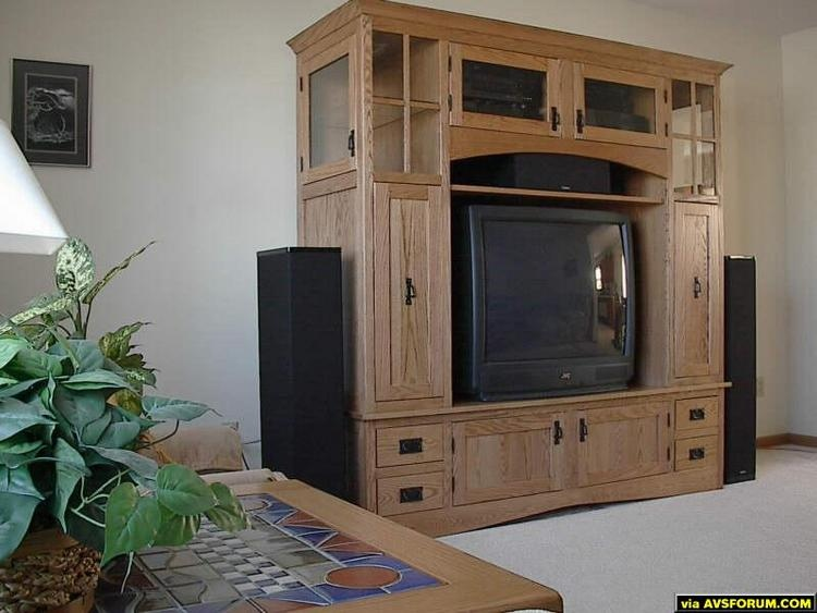 "I wasn't satisfied with any pre-built entertainment centers I looked at. I wanted something that could hold my existing TV (a 36"" JVC), and be ready for a widescreen someday. I was at an Amish-run furniture store, and the salesman told me..."