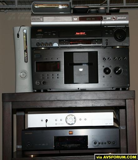 Toshiba 9200 was just replaced with Panasonic 30K BlueRay, DirectV HD recevier, Sony 777ES changer, JVC7600 VCR and Philips DVD Burner, Xbox 360 with HDDVD Drive