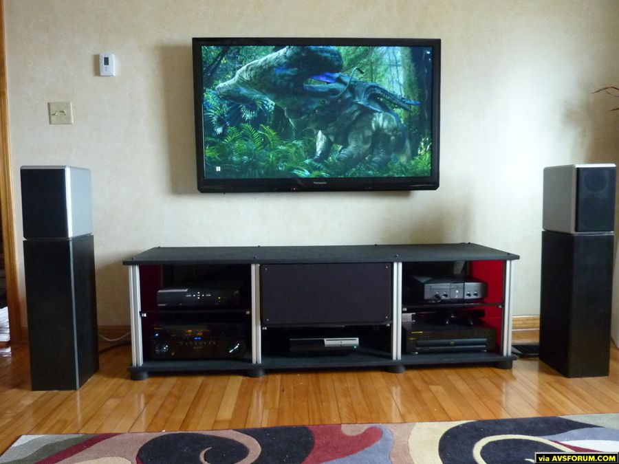 "55"" st30, diy stand, selah audio rc2 speakers, pioneer elite vsx23thx."