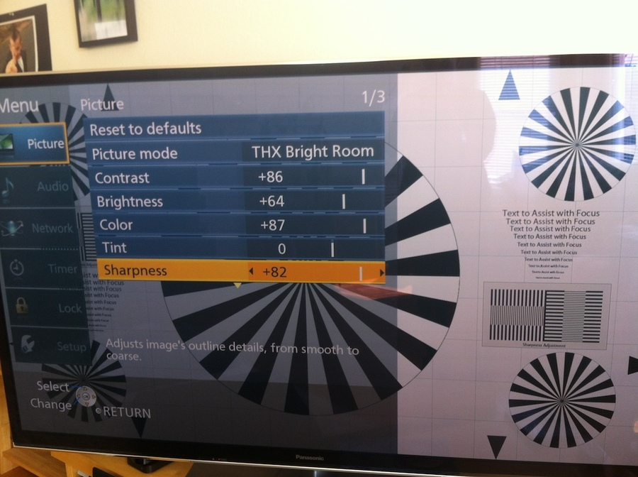 "Panasonic VT50 65"" test screen"