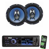 Pyle Radio Player and Speaker Package for Home, Studio, Car, Van, Truck, Mobile etc. - PLR33MPD AM/FM Band Radio USB/SD Receiver w/ Detachable Face - PL63BL 6.5'' 360 Watt Three-Way Speakers (Pair)