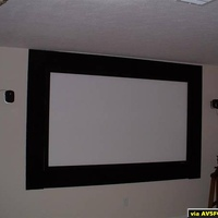 "9"" Plywood masking panels covered with JoAnn fabric Velvet, added to stock 96"" Carada High Contrast Screen."