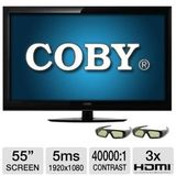 Coby 55-Inch 3D LED-LCD HDTV with Two Pairs of 3D Glasses