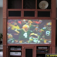 ESPN Sports Center HD upconvert Prismatec by Vuetec Screen HS10 projector 10 ft behind 80 diagnal screen @ Noon
