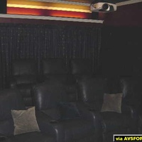 Very dark photo (I'll get a better one) I tried to lighten a bit showing the two rows of Berkline theater recliners.  Second row of three sits on a carpeted box.  Front row is curved.
