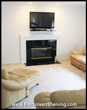 TV and Smart Shelf over fireplace