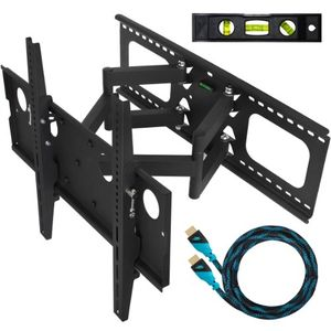 Cheetah Mounts Plasma LCD Flat Screen TV Articulating Full Motion Dual Arm Wall Mount Bracket For 32-65&quot; Displays Up To 165LBS Black With 10' High Speed HDMI Cable With Ethernet Fits Up To 24&quot; Studs